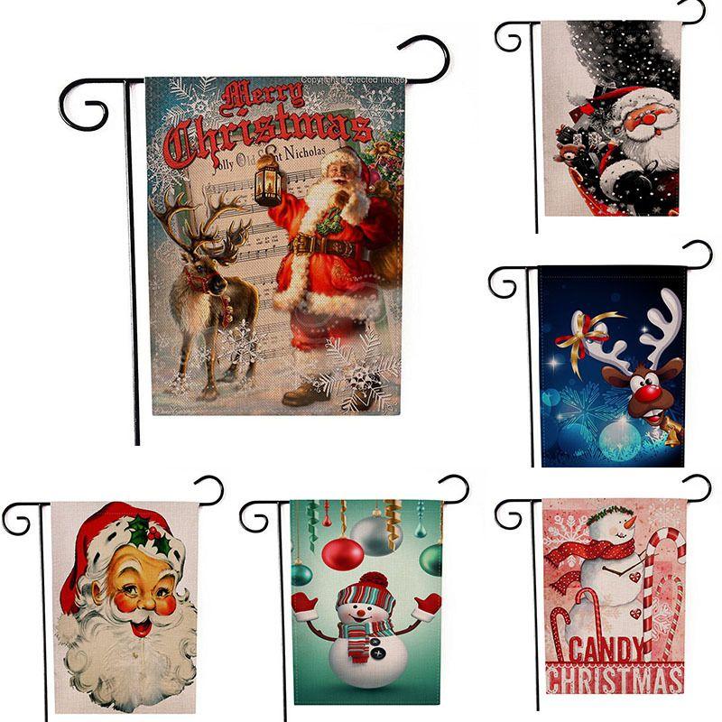 Hanging Natale Bandiera Lino Babbo porte Buon Natale striscione Decorazione esterna Decorazioni di Natale per casa regalo di natale nuovo anno