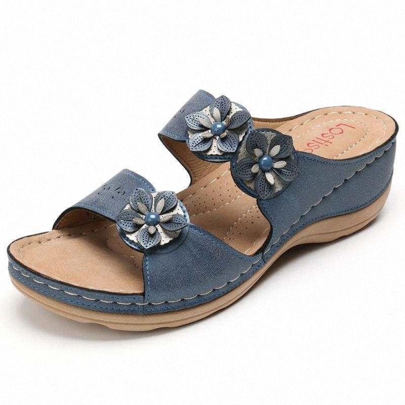 Summer Casual скольжение тапочек Новых дамы цветок украшение ретро платформа тапочки женщины 2020 Комфорт Высокой клинья обуви Женщина yt #