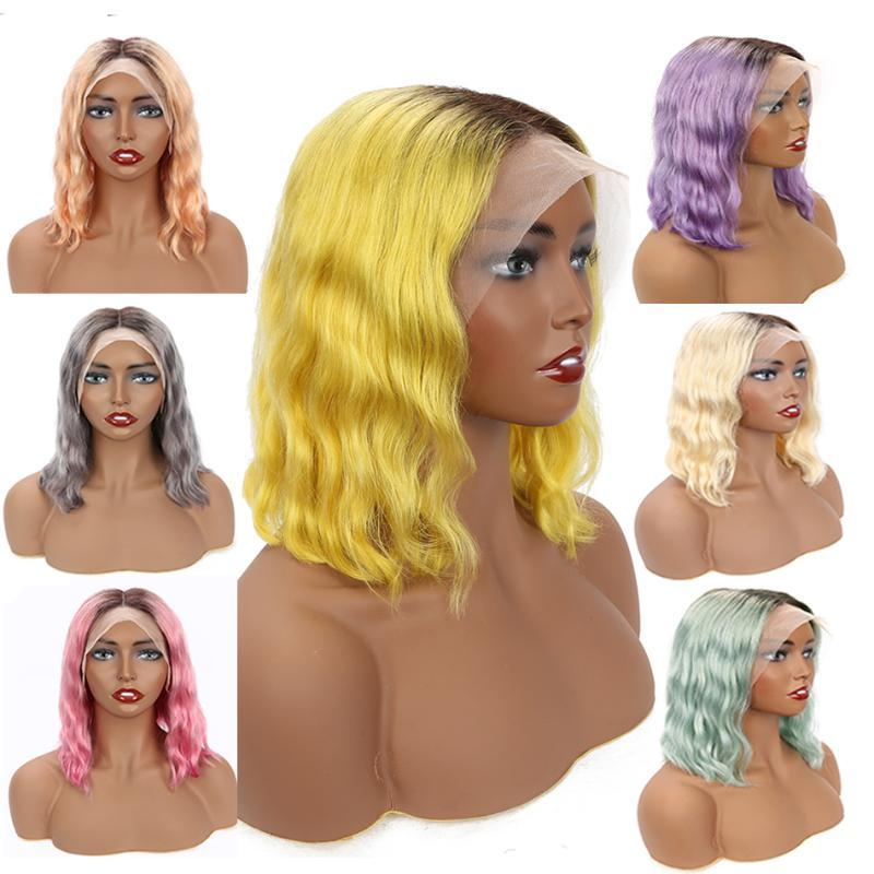 Colored Human Hair Wigs 13x4 Lace Frontal Wig Malaysia Body Wave Wig Bob 613 Lace Front Wigs Blue Gold Grey Hot Pink Neon Purple