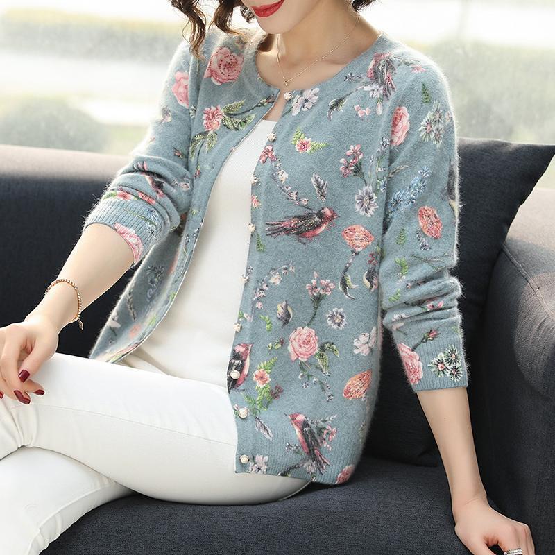 Yisu mujeres suéter de las rebecas floral del otoño invierno modelo del pájaro de punto Escudo Cardigan solo pecho chaqueta informal suéter de punto