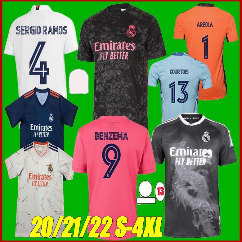 Gerçek Madrid Jerseys 20 21 22 Benzema Tehlike Sergio Ramos ISCO 2020 2021 2022 Camiseta Futbol Futbol Gömlek Boyutu S-4XL