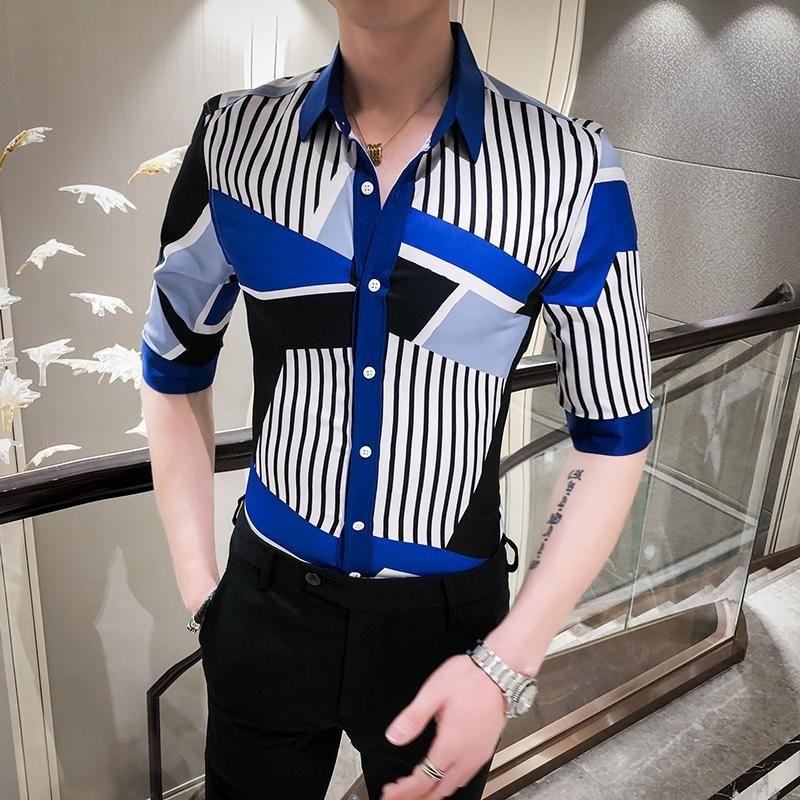 Splice Chemise à rayures Casual Slim Fit Mens Dress Shirts moitié d'été manches Streetwear sociale Chemises Fantaisie Camisas Para Hombre hommes