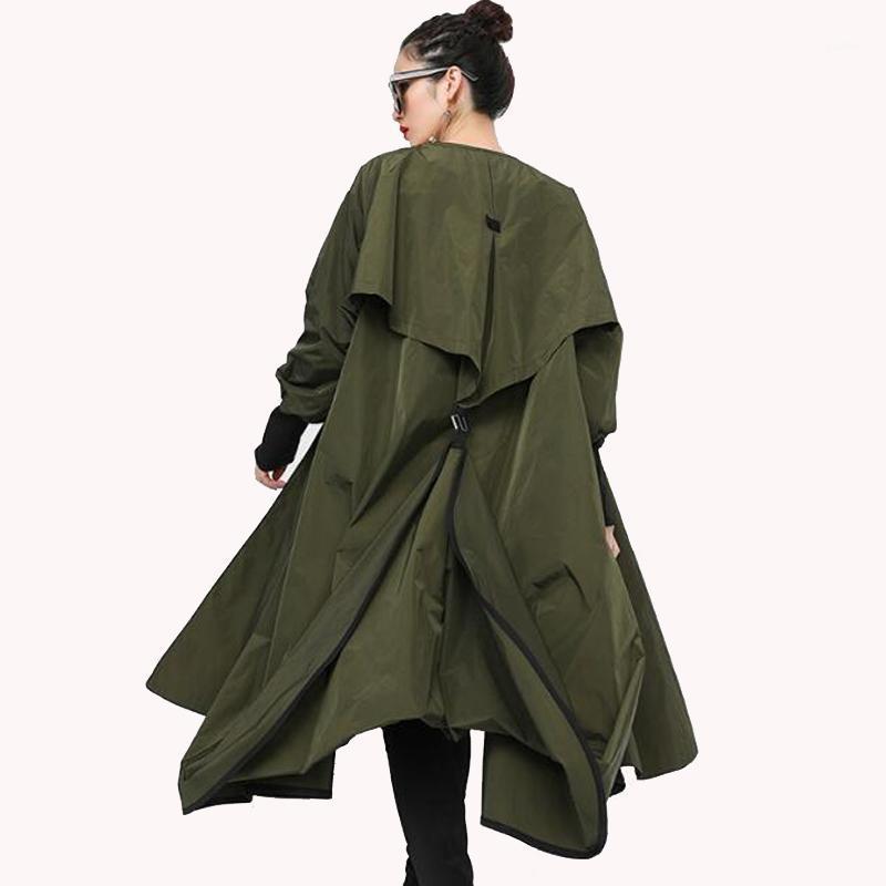 Женская траншея пластырь Прибытие Осень BF Женщины Кейп Кардиган Одежда Топы Длинный Рукав Без свободного пальто Мода Streetwea