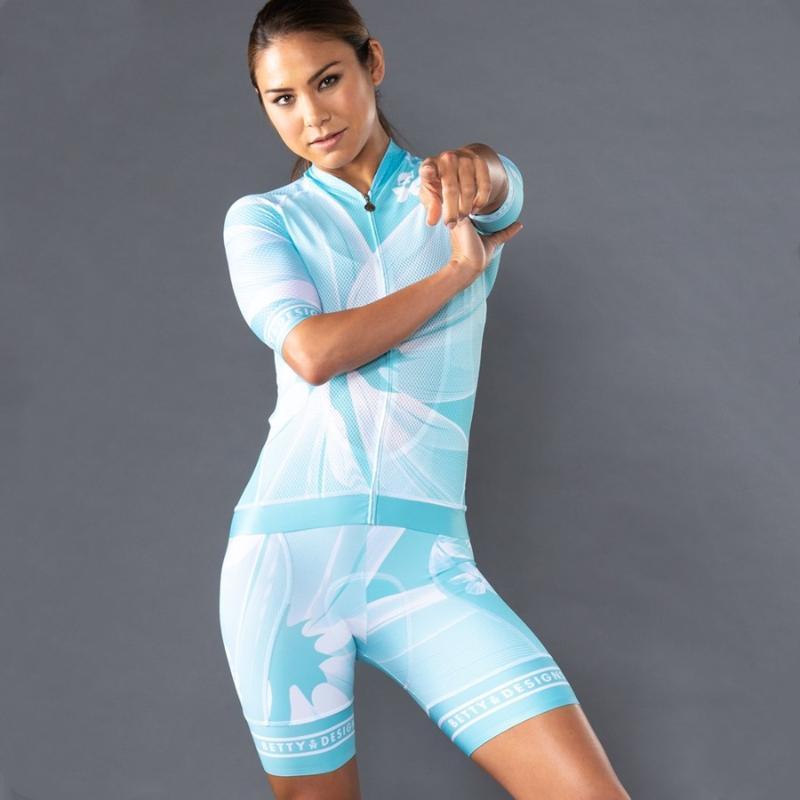 2020 betty Kadınlar Pro Takım Yaz Parıltısı Bisiklet Jersey Seti Yüksek Yoğunluklu 9D Sünger Pad MTB Giyim Setleri Bisiklet Giyim Yol Suit