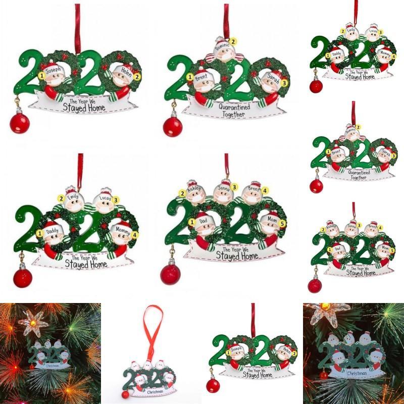 2020 Christmas Tree Ornaments Santa Claus Face Mask Family Pendant Wooden DIY Name Xmas Indoors Decorations Hanging 6 8xf G2