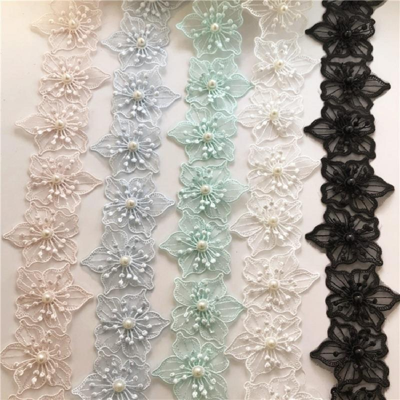 Accessori per parti Borse Organza White Lace Nails Pearl Flowers Diagi Decorazione fatta a mano