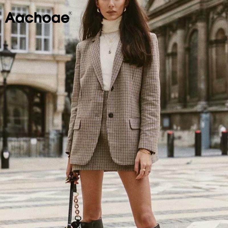 AACHOAE PAID TWEED JUPES SUPPORTS 2020 Spring Long Manches Hounde De Blazer Blazer Blazer Jupe Jupe 2 Morceaux Ensembles Femmes Costumes
