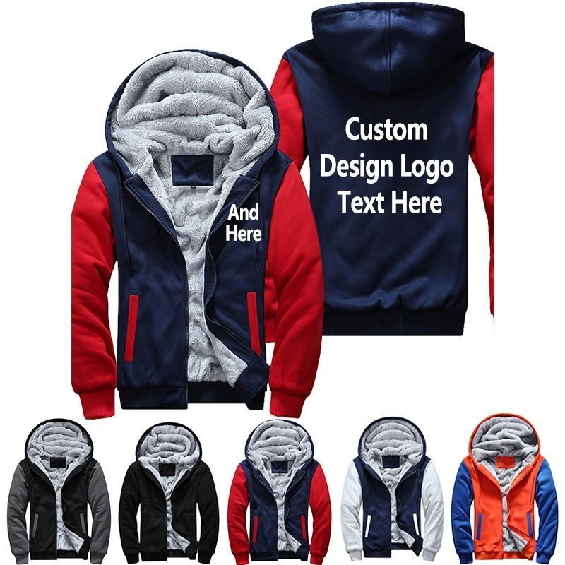 USA EU size Plus size Fashion Print Hoodies Men Thicken Fleece Sweatshirts Long Sleeve Jacket Free Shipping 201114