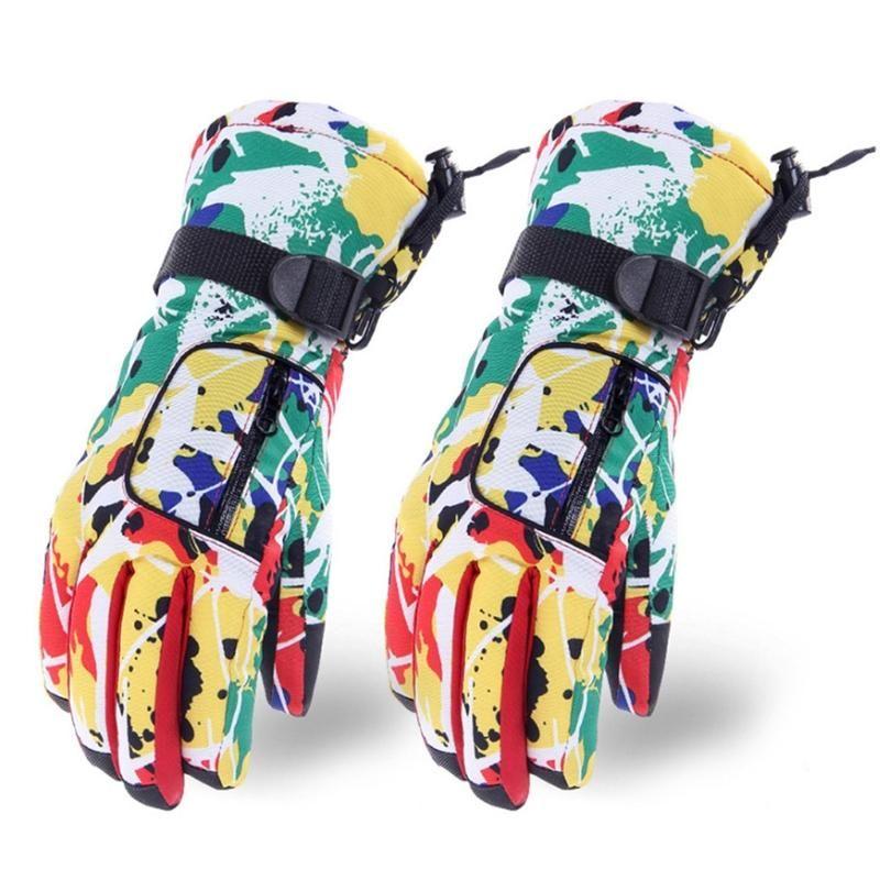 Ski Gloves Winter Warm Waterproof Snow Colorful Graffiti Plush Lined Non-Slip Mitten U7EF