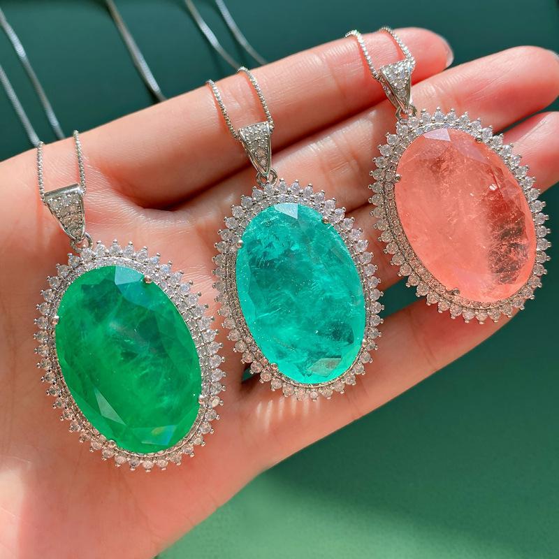 Стерлингового серебра 925 20 * 30 мм Paraiba Tourmaline Emerald розовый кварцевый драгоценный камень кулон ожерелье изысканные украшения для женщин