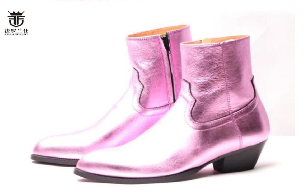Trend Leder Herren Stiefel England Herren Stil High-Top-glänzendes Leder Booties beiläufige Geschäftsschuhe bota