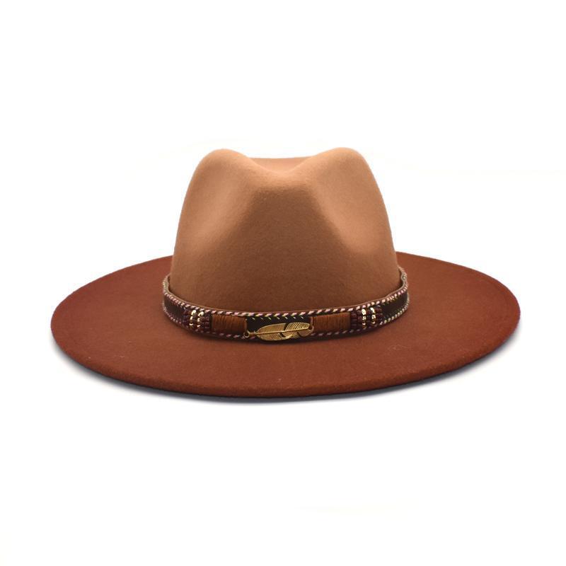 Chapeaux larges Chapeaux Fuodrao Hommes Hommes Fedora Tie Cravate Fedoras Grande Laine Panama Femmes Femmes Cowboy Jazz Cap Bowler D13