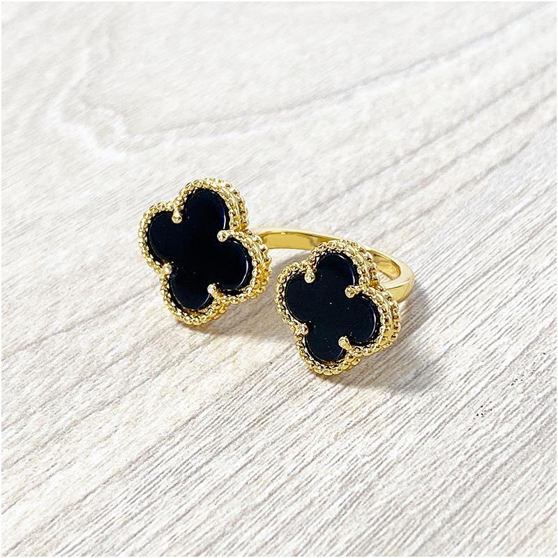 Quatre feuilles Black Gem Lady Gold Anneaux d'or pour femme Bagues pour femmes Agate Shell Bijoux de mode pour femmes avec boîte avec timbre