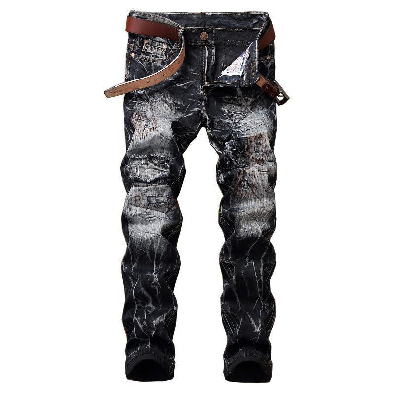 бренд складки ретро Разорванные джинсы HOMME вскользь Straight Тонких джинсов для мужчин высокого качества лоскутной вышивки джинсовых брюк 28-42