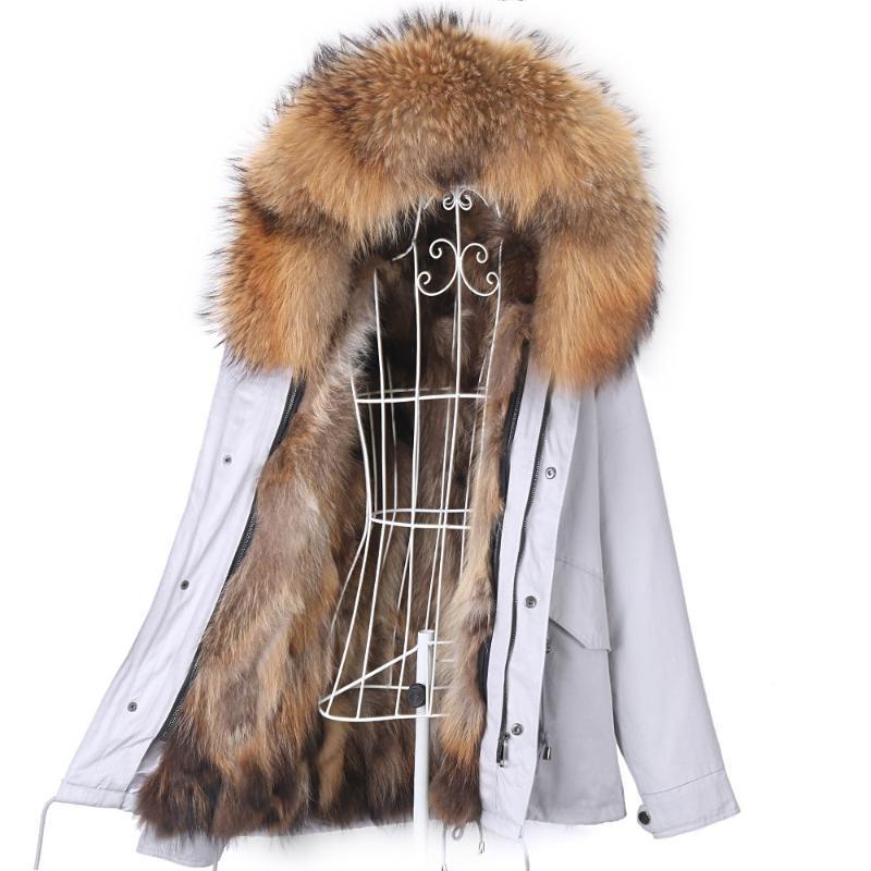 Kobiety Fur Faux 2021 Kobiety Prawdziwy Płaszcz Zima Krótka Wodoodporna Parka Naturalna Liner i Kołnierz Kapturz Kurtka 7XL