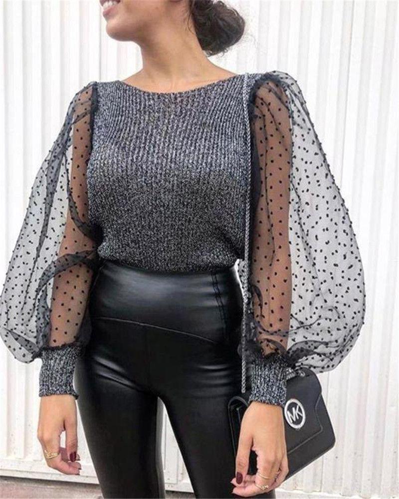 Hauchhülse ol Stil Designer Gestrickte T-shirts Massiv farbe Pullover Mode Tops Herbst Weibliche Kleidung