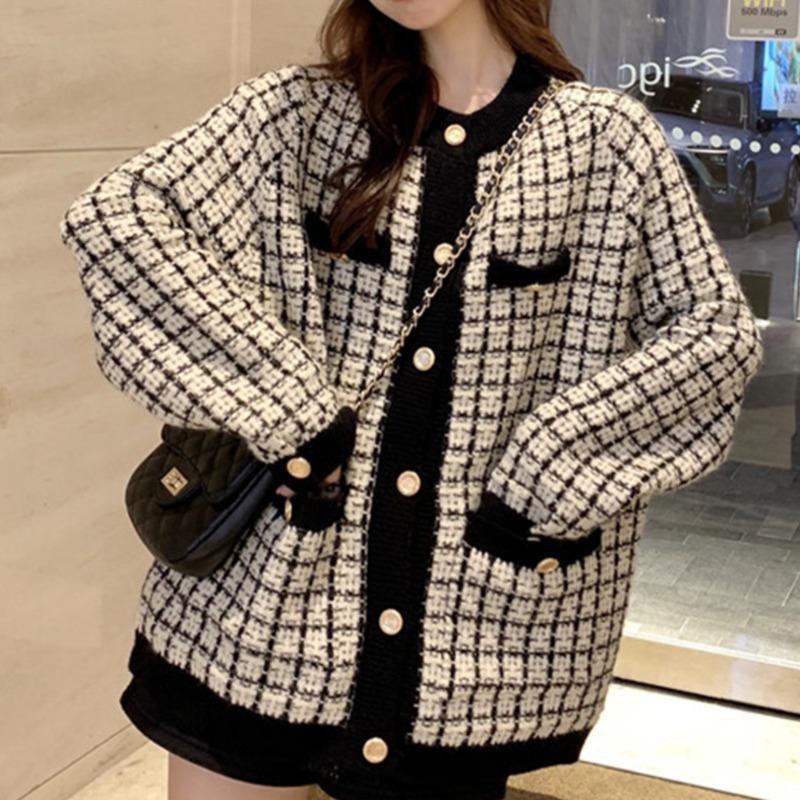 [EWQ] Осень Новый свитер пальто ретро рубашка Проверьте длинный рукав одиночный грудные клетки свободные вязать кардиган прилив дамы QB321 Y200915
