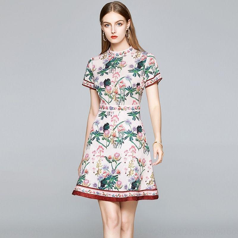 PNOCT Малый -линии тонкого воротника женщин с юбкой платья поясного платья показывает стоячую знаменитость темперамент юбки печать нового лета 2020 zkJX