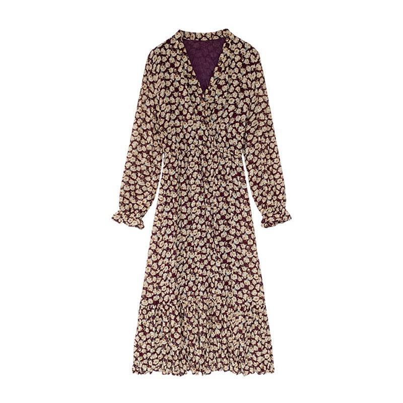 Robe Automne Tempérament Mesdames taille amincissant florale en mousseline de soie Robe longue talonnage française Bellflower