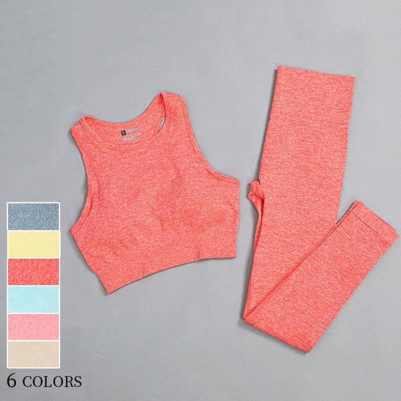 6 цветных леггинсов и бюстгальтер Двухструктурные йоги набор для женщин Спортивные леггинсы и верхняя фитинг бегущие спортивные женские гимнастики фитнес