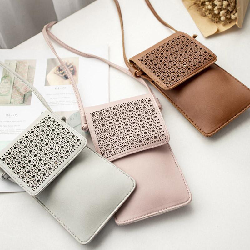 핸드백 DOM1061647 밖으로 미니 사이즈 크로스 바디 전화 가방 5 색 플랫 동전 가방 2020 어린이 중공