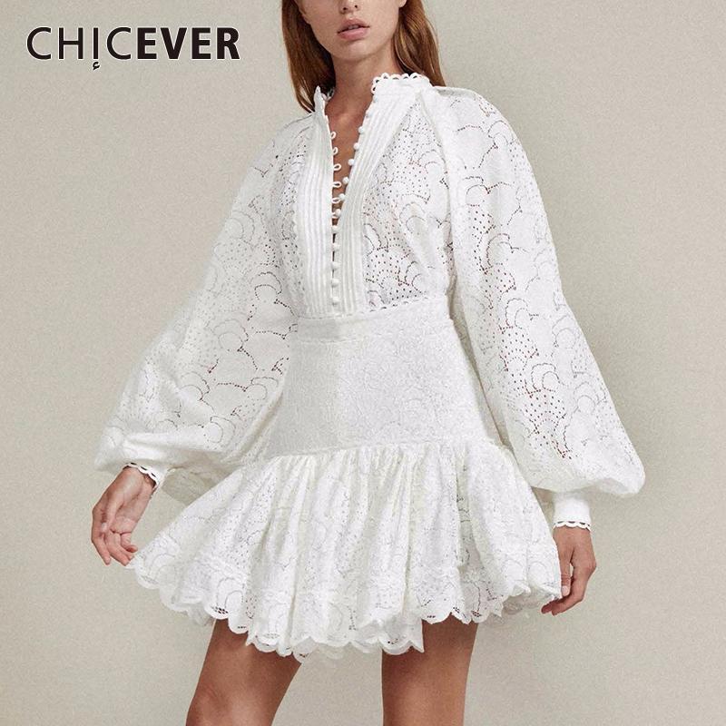 CHICEVER Sexy oco Out saia Dois conjuntos de peças Feminino Lanterna Blusa Manga Tops Mulheres cintura alta Patchwork Lace Skirt Suit