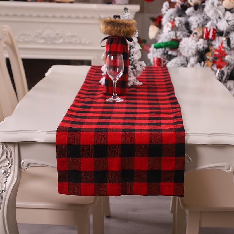 Kırmızı Siyah Ekose Noel Dekorasyon Masa Runner Placemat Tablecloth Mat Düğün Noel Yeni Yıl Partisi Ziyafet Ev Dekorasyonu 63256