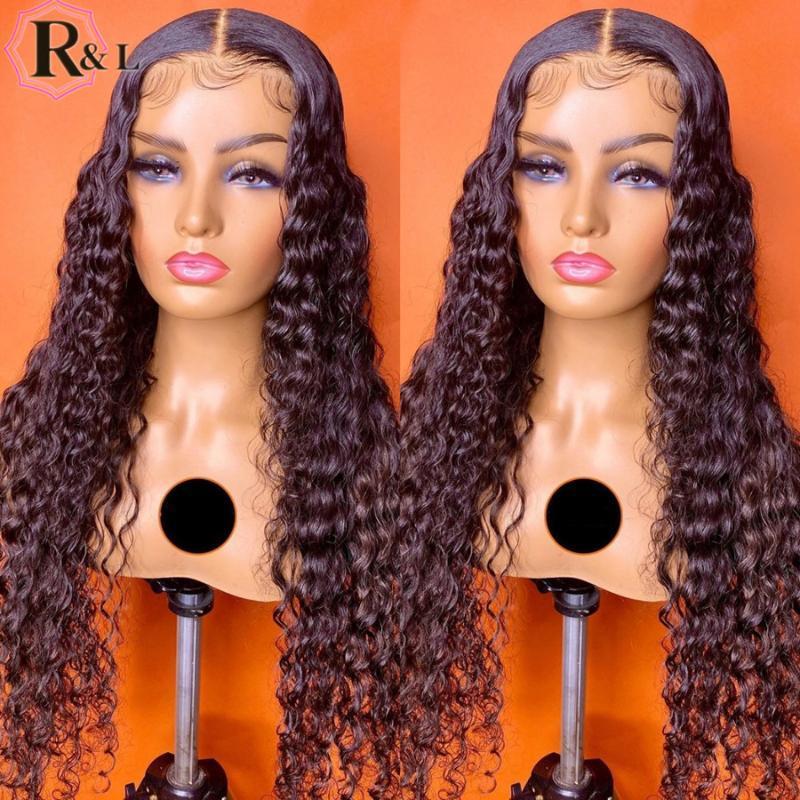 RULINDA Бразильская фронта шнурка человеческих волос Парики Pre щипковых завитые T-часть волос Remy парики шнурка 180% Плотность средняя часть