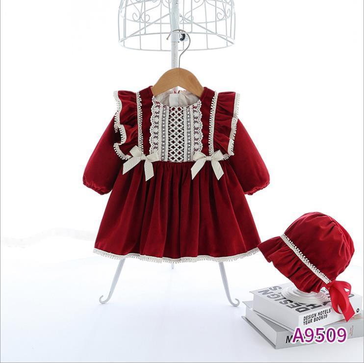 desgaste del invierno 2020 vino nuevo vestido de terciopelo de las niñas de los niños rojos español felpa vestido vestido de princesa