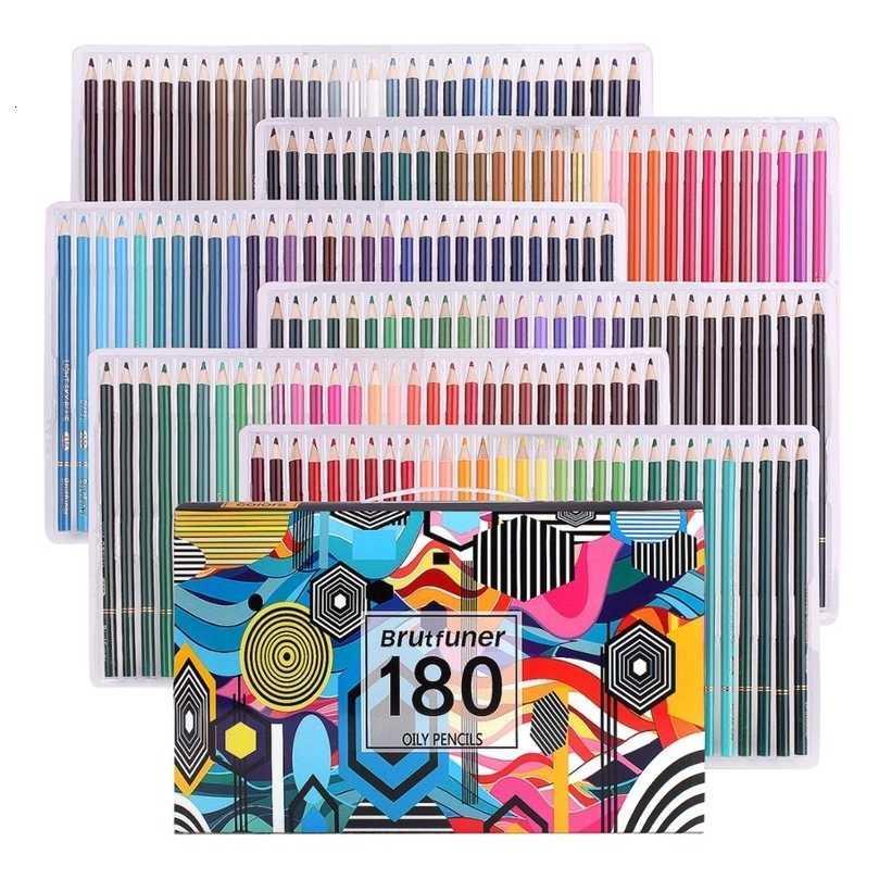 Boyama kalemleri, profesyonel 180 renk seti Yumuşak balmumu bazlı çekirdekler, çizim, eskiz, gölgeleme boyası, pro sanatçılar 201223