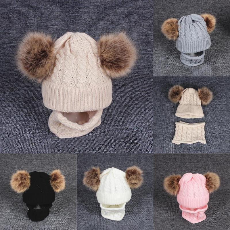 2ST Kid Baby Fit für 1-6 Jahre Kinder Strickwolle Hemming Halten Sie die warme Winter Hiarball Cap Kinder-Hut-Baby-Mütze + Schal Set G927