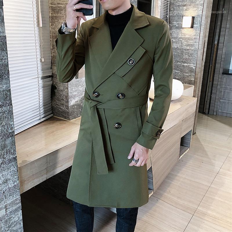 Мужская зимняя траншея куртки мужские моды повседневные двубортные пальто наготовки мужские выступы с высоким уровнем конец