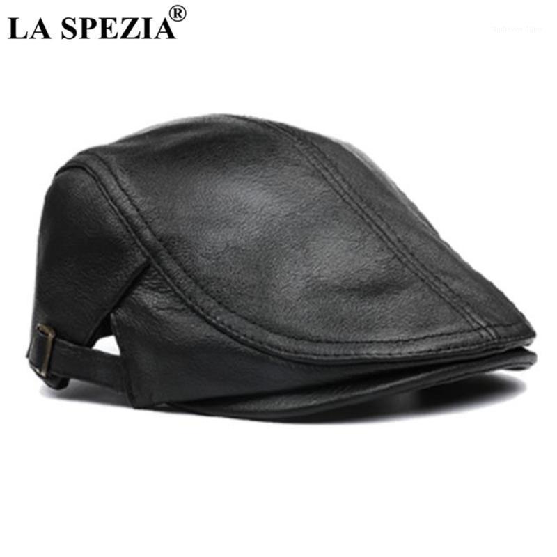 Bereler la spezia erkekler düz kap gerçek deri siyah erkek bere şapka inek derisi hakiki erkek ördek yavrusu sonbahar kış gatsby cap1