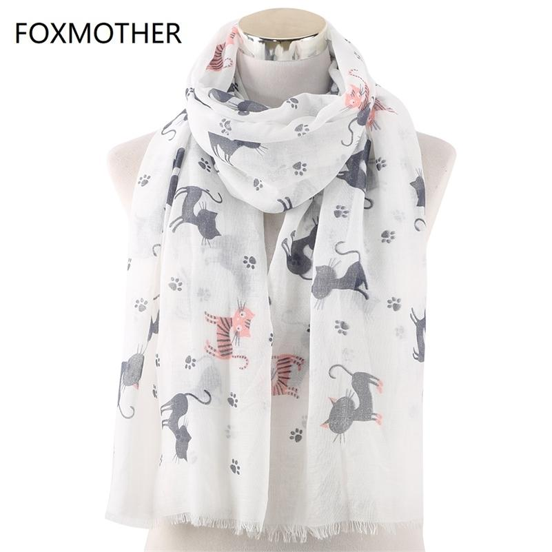 FOXMOTHER neue Frauen-Schal Foulard Femme Tier Wrap Bandana Bufanda Mujer Katzen-Tatzen-Druck Schals Drop Y201007