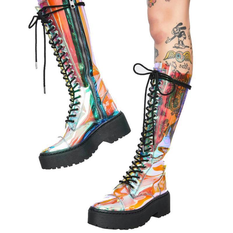 RIBETRINI nueva llegada Mujer Botas calientes de la venta de la cremallera cruzados con zapatos del otoño Plataforma Botas Mujeres con estilo del diseño del resorte de la mujer