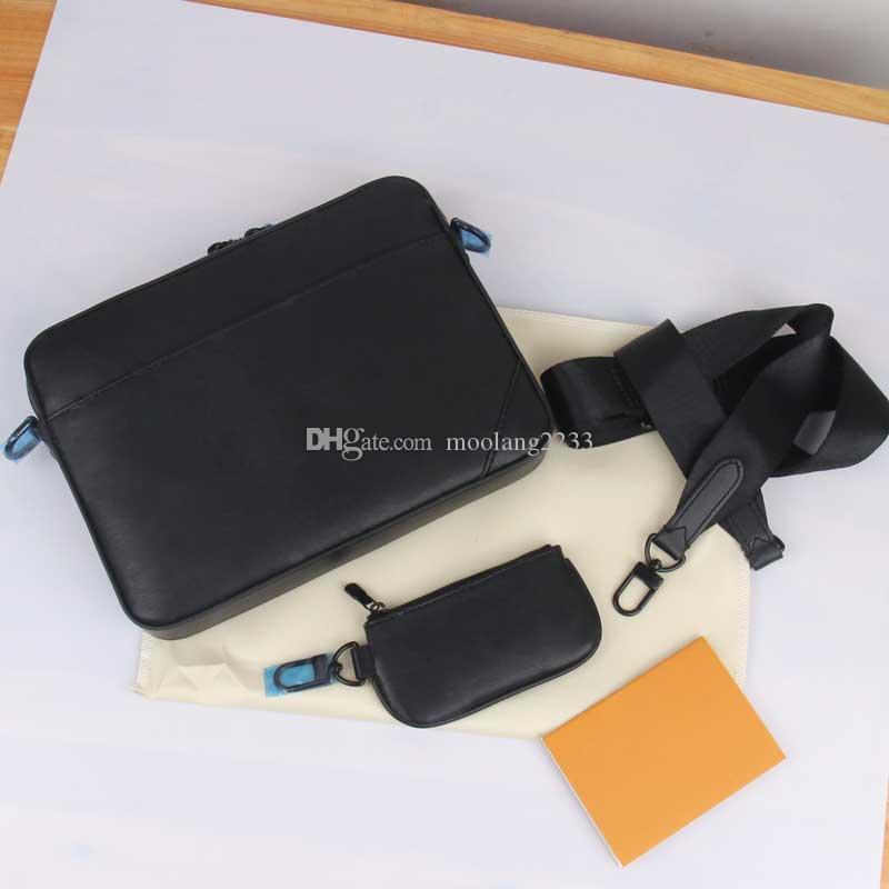 2020 جديد الأزياء رسول حقيبة pochette الثلاثي حقيبة الكتف أسود / أبيض 2 قطعة نوعية جيدة بو الأشرطة حقيبة crossbody 69827 مع محفظة عملة