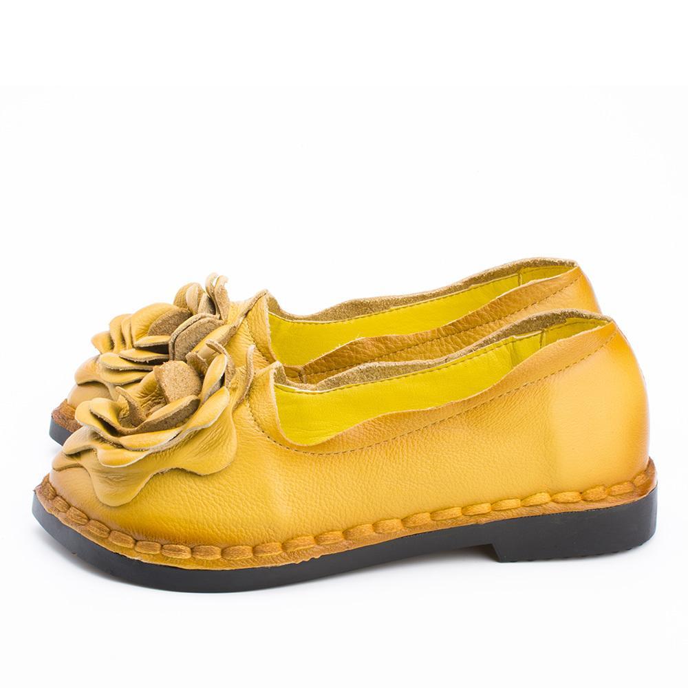 La nueva vendimia hecha a mano del estilo popular de las mujeres zapatos de los planos ocasionales del cuero genuino Señora zapatos inferiores suaves para la madre de la manera de los holgazanes 201012