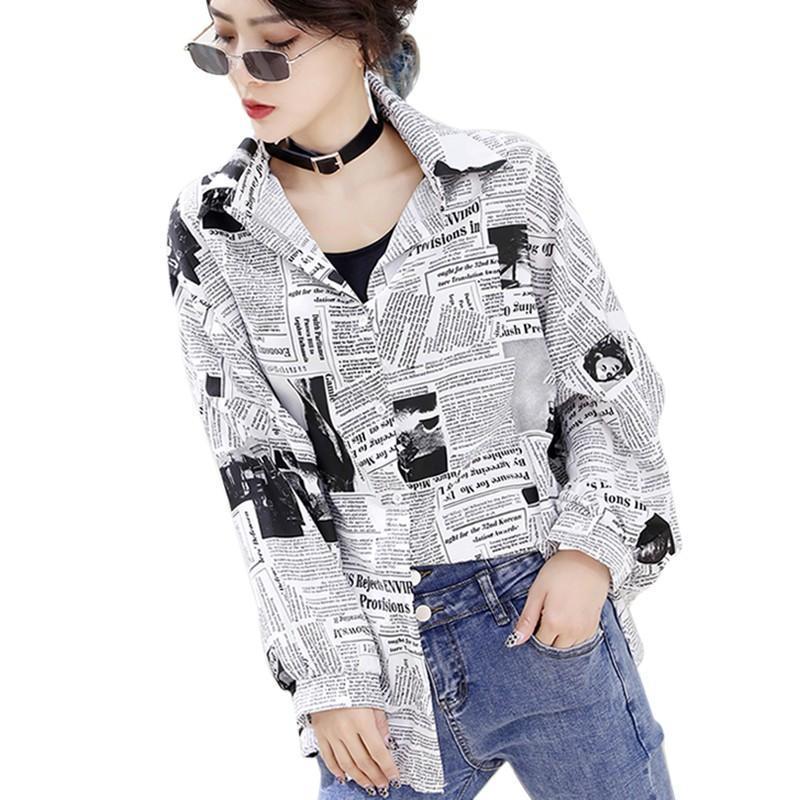 Frauen blusen shirts vintage englisch spaper druck shirt mode long sleeve revers bluse unisex lose tops und