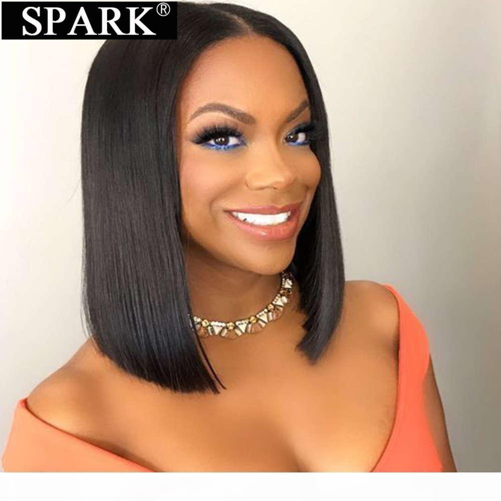 Spark Kısa Bob 100% İnsan Saç Peruk Düz Brezilyalı 4x4 Dantel Ön Peruk Siyah Kadınlar için Doğal Renk Orta Bölüm Remy