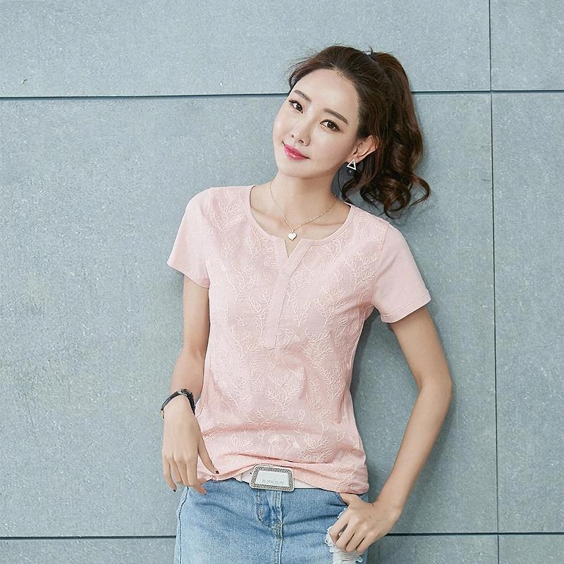 Blusa Bordado Blusa Blanco Camisa Mujer Tops Blusas Mujer De Moda 2020 Flojo Tallas Play Tamaño Mujer Blusas Camisas de manga corta # ME6P