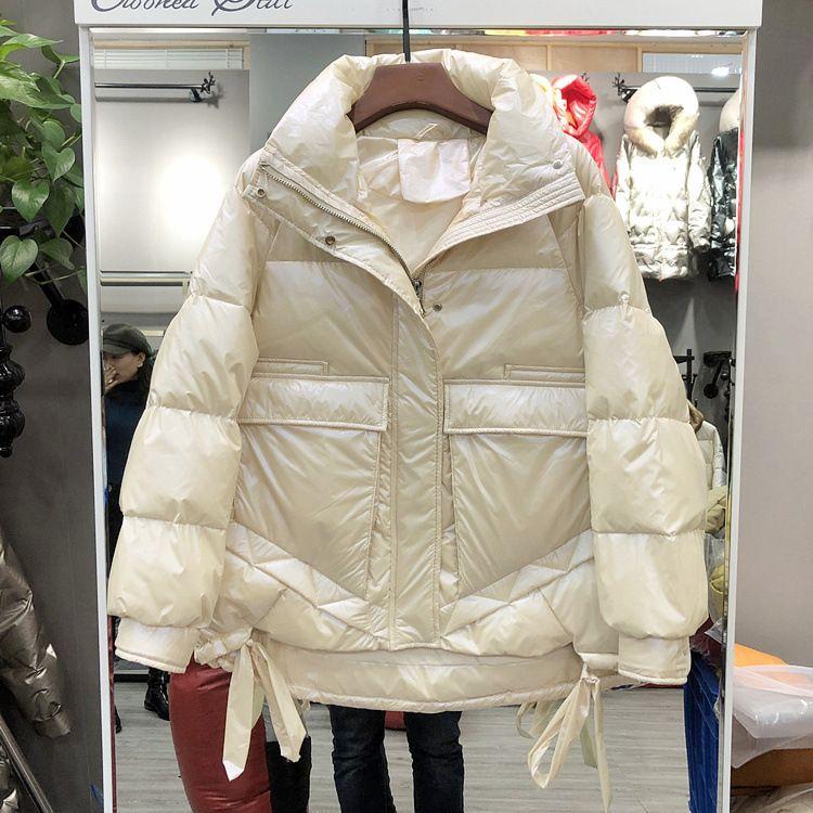 Глянцевая женская свободная короткая высота мягкая куртка 2020 зима новая стенд воротник белый утка вниз