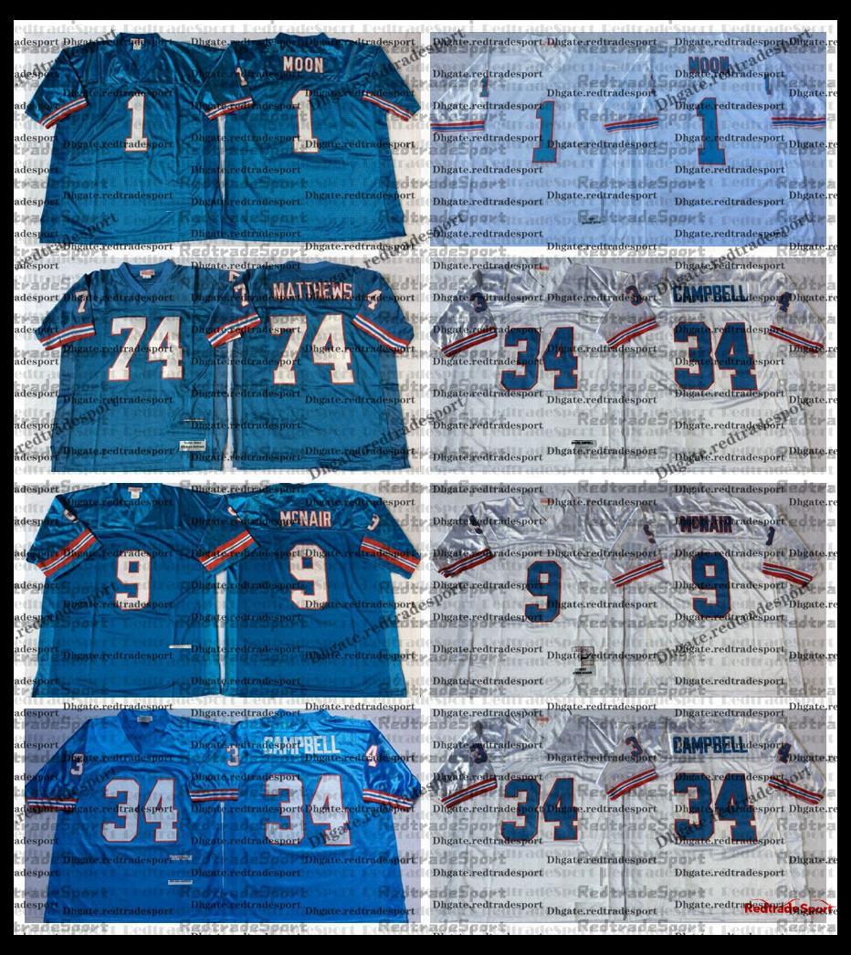 Vintage öser Fußball Trikots 1 Warren Moon 34 Earl Campbell 9 Steve McNair 74 Bruce Matthews genäht Hemden Stickerei Blue AC1