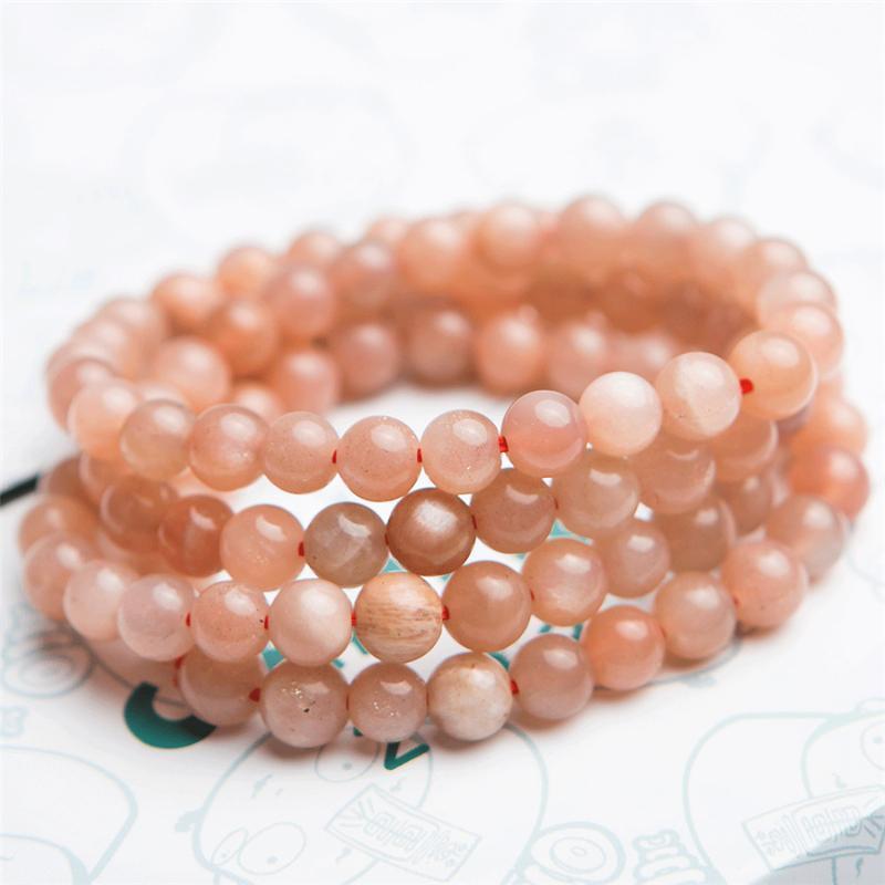 Kostbarer natürlicher Sunstone Armbänder Damen Herren Stretch Kristall-rundes Korn-Naturstein Drei Laps Armband 6mm