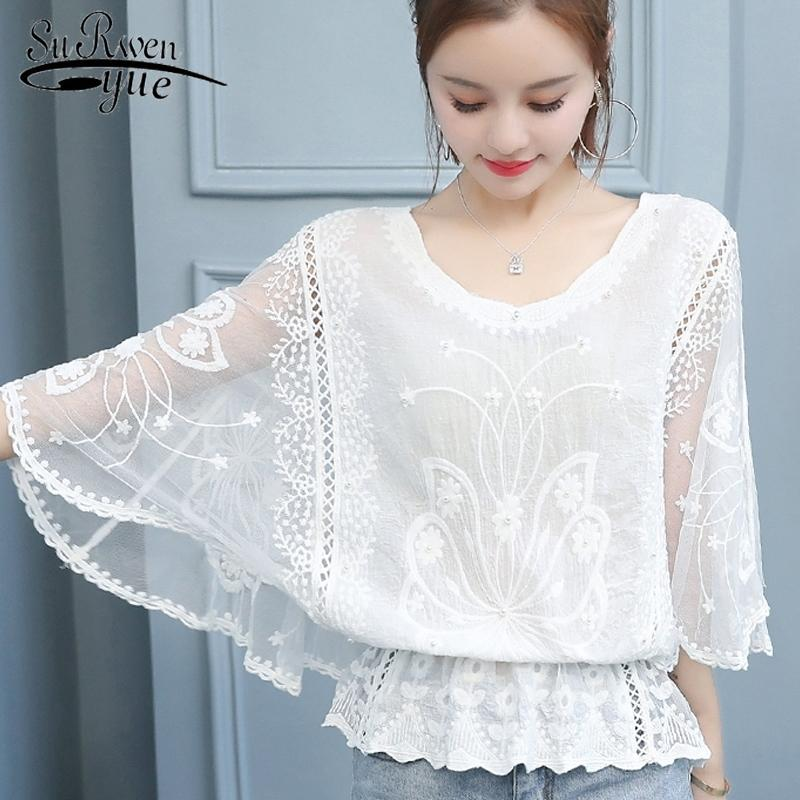 sexy hollow out stitching lace top new korean fashion women blouse elegant female office shirt Three Quarter blouse 4478 50 201201