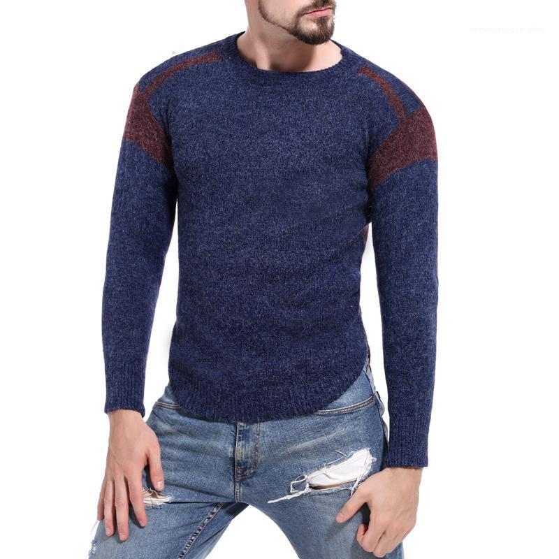 Crew Neck Sweater Männer Slim Fit Kleidung der Männer Kontrast-Farben-Pullover Frühling Herbst Panelled Langarm