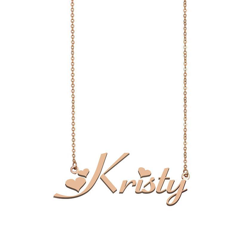 Kristy Namenskette benutzerdefiniertes Typenschild Anhänger für Frauen-Mädchen-Geburtstags-Geschenk für Kinder Beste-Freunde-Schmucksachen 18k Gold überzogener Edelstahl