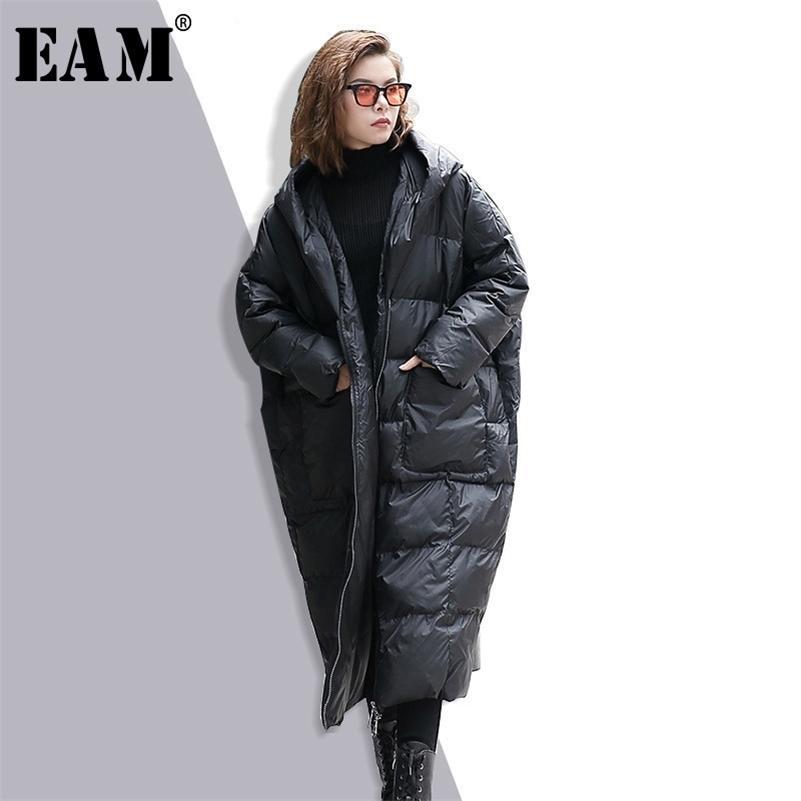 [EAM] Новая зимняя с капюшоном с капюшоном с длинным рукавом сплошной цвет черный хлопок мягкий теплый свободный большой размер куртка женщин Parkas мода JD12101 Y201001