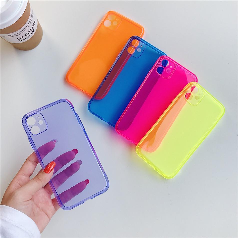 Coque fluorescente couleur antichoc pour iPhone 11 Pro Max XR XS XS Max 7 8 Plus Coque Neon TPU Soft TPU Couvercle de téléphone clair