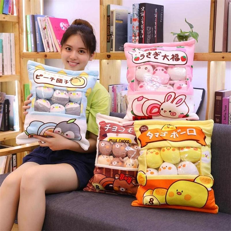Bonitos Animais Pudim Pudim Brinquedos De Pelúcia Mini Bolas Redonda Pintainho Urso Pinguim Coelho Um saco de Plushie 8 Pcs Alimentos Snack Brinquedos Plush Tillow 201222