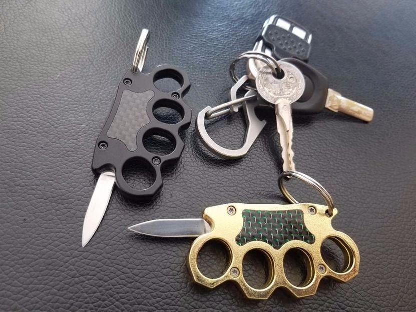 Mini llavero Knuckles Knuckle Auto automático Cuchillo de bolsillo plegable Doble Acción Camping Herramienta de supervivencia Knifes Cuchillos de regalo de Navidad 20713